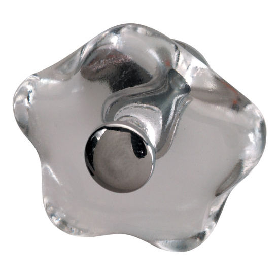 Hafele Glass/Polished Chrome Knob 33mm (1-1/4'') Diameter