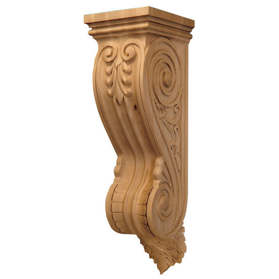 Hafele Artisan Collection Corbel, Hand Carved, 7-1/2'' W x 8 5/8'' D x 26-1/2'' H, Maple