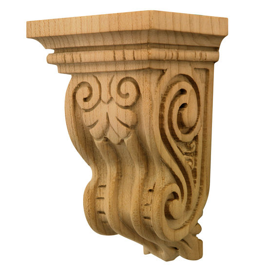 Hafele Artisan Collection Corbel, Hand Carved, 2-5/8'' W x 3'' D x 4-1/2'' H, Maple