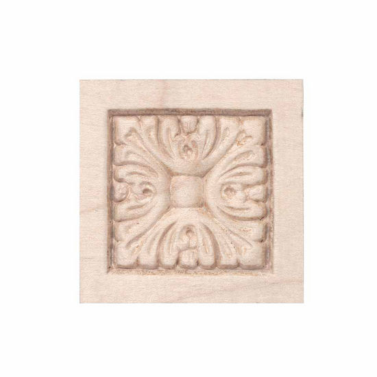 Hafele Acanthus Collection Ornament, Carved and Embossed, 1-7/8'' W x 3/8'' D x 1-7/8'' H, Maple