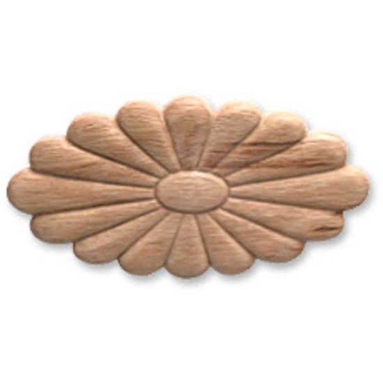 Hafele Wood Ornament, Oval, Flower, Embossed Plywood, 4-1/2'' W x 7/32'' D x 2-3/8'' H, White Hardwood