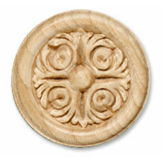 Hafele Acanthus Collection Ornament, Carved, 2-1/8'' Dia., 3/8'' D