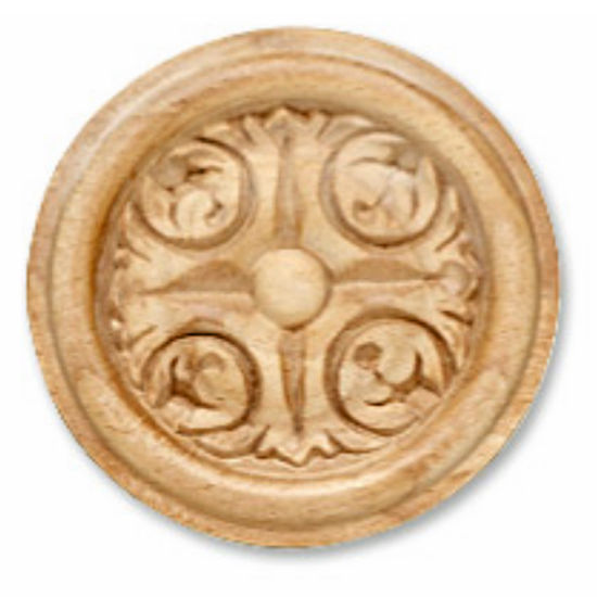 Hafele Acanthus Collection Carved Ornament, Round, 2-7/8'' Dia. x 3/8'' D