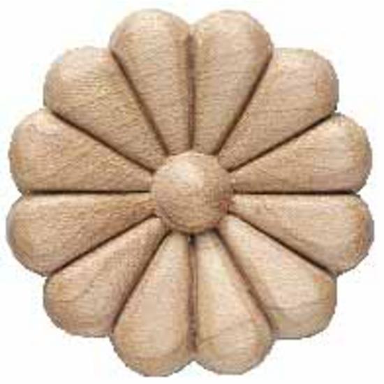 Corbels Wood Ornament Round Flower Carved Rose Design