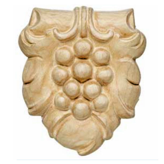 Hafele Bordeaux Collection Hand Carved Ornament Grape Design, 3-3/16'' W x 5/8'' D x 3-5/8'' H