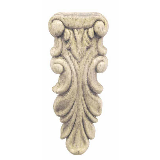 Hafele Wood Ornament, Carved, 1-9/16'' W x 11/32'' D x 3-15/16'' H, Beech