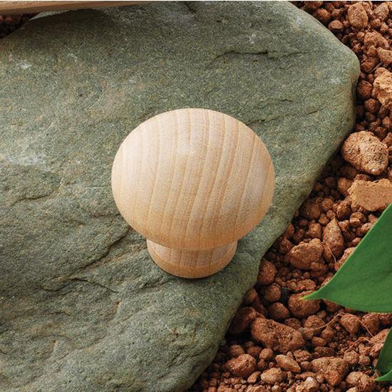 Hafele (1-1/4'') Diameter Wood Round Knob in Cherry, 32mm Diameter x 30mm D x 19mm Base Diameter