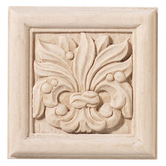 Hafele Chateau Collection Onlay, Hand Carved, Leaves Motif, 2-7/8'' W
