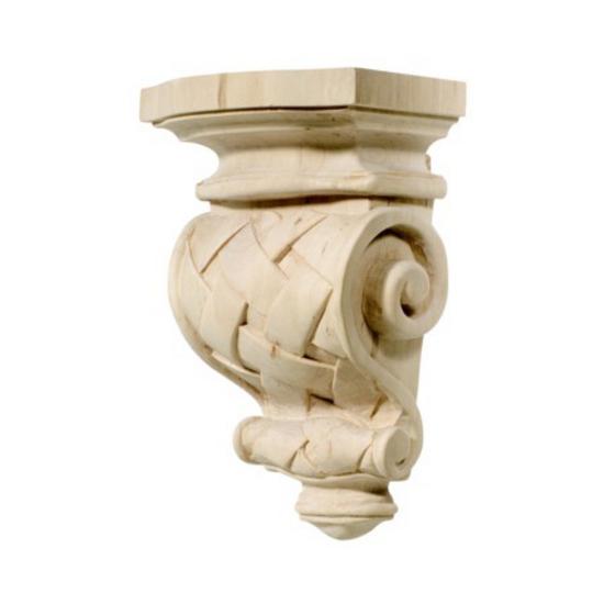 Hafele Cottage Collection Corbel, Hand Carved, Basket Weave 9'' H