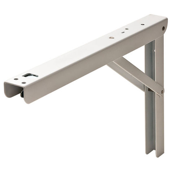 Hafele Heavy Duty 12'' - 16'' Folding L-Bracket, Steel, 300mm D - 400mm D, White, Each