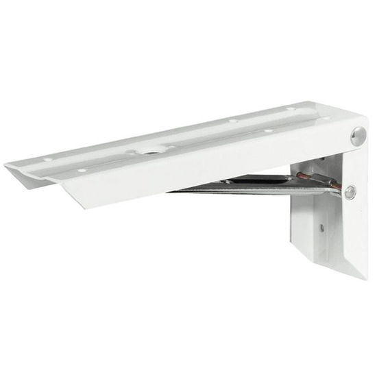 Hafele Folding Bracket, Steel, Galvanized Support, 200mm D - 300mm D, White, Per Pair