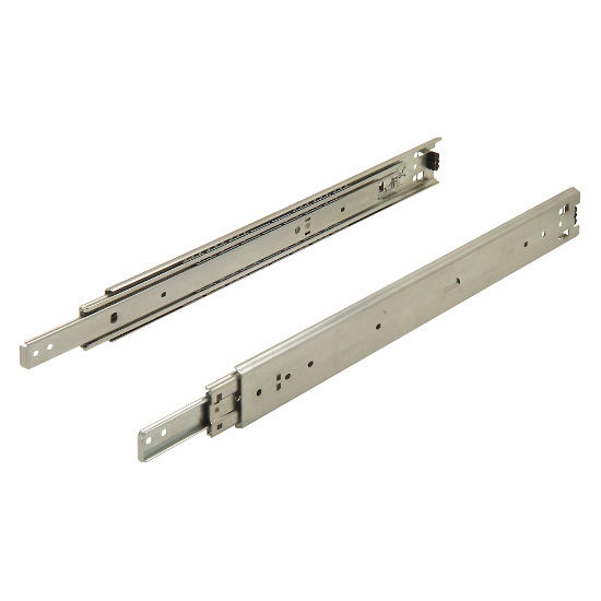Accuride 3348, 1'' Overtravel Ball Bearing Side Mounted Drawer Slide 16''-22'' with Lockable Detent Out