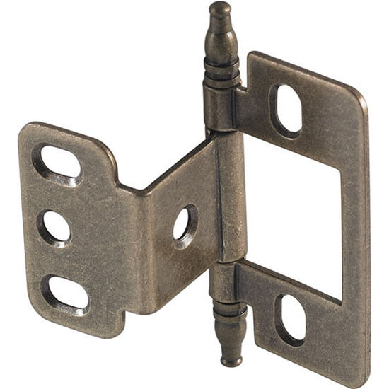 Hafele Partial Wrap Non Mortise Decorative Butt Hinge With Minaret Finial  In Antique Brass,