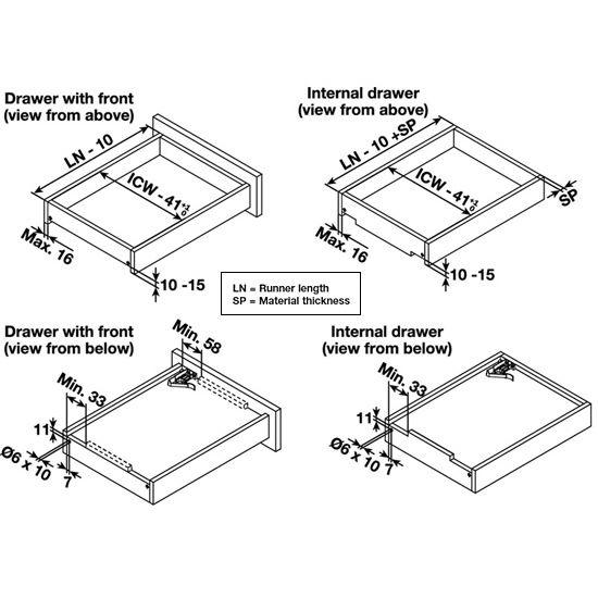 Kitchen Cabinet Undermount Drawer Slides: Hafele Salice Concealed Undermount Cabinet Slide, With