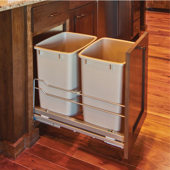 Hafele Built In Double Pull Out Bottom Mount Waste Bin