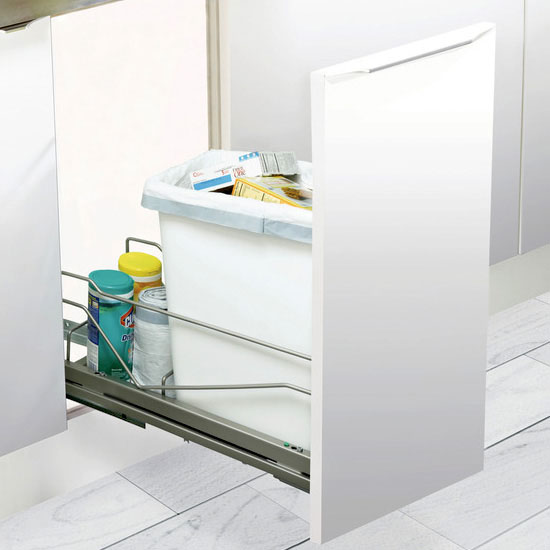Hafele Built-In Single Pull-Out Bottom Mount Waste Bin with Soft & Silent Closing