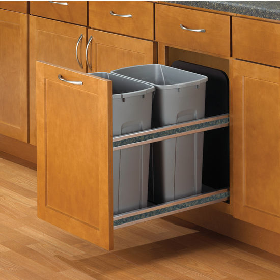 Hafele Double Bottom Mount Soft Close Built-In Waste Bin, Frosted Nickel,  Min. Cabinet Opening: 15