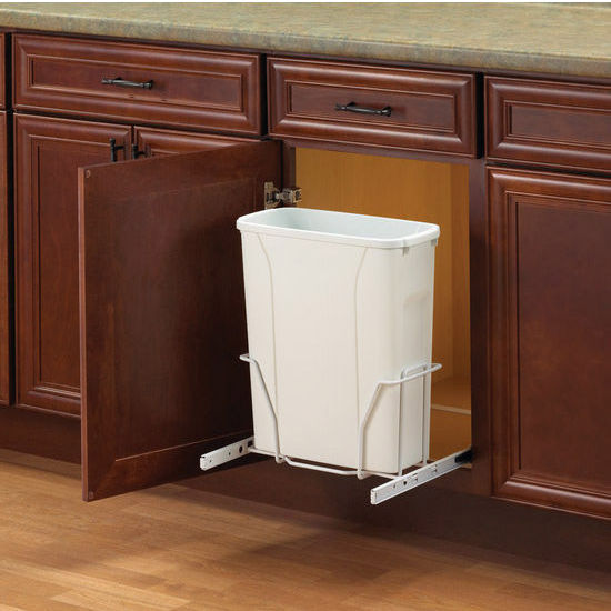 Single Built-In Bottom Mount Sideways Pull-Out Waste Bin