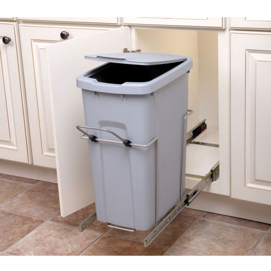Hafele Bottom Mount Soft Close Single Waste Bin, Frosted Nickel