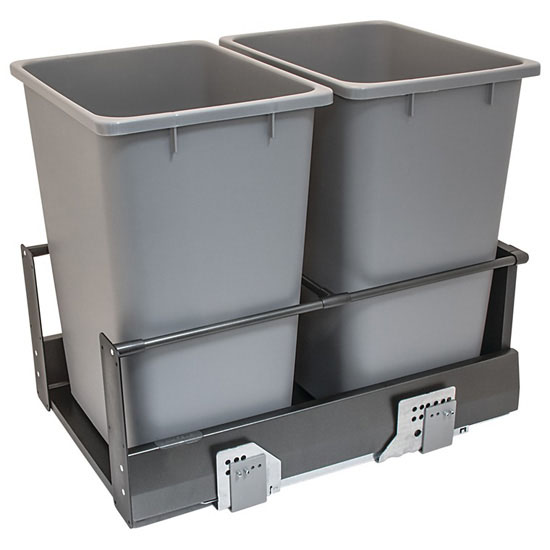 Hafele Double Built-In Bottom Mount Pull-Out MX Trash Cans, Steel, Anthracite with Gray Bin, 2 x 36 Qt (2 x 9 Gal)