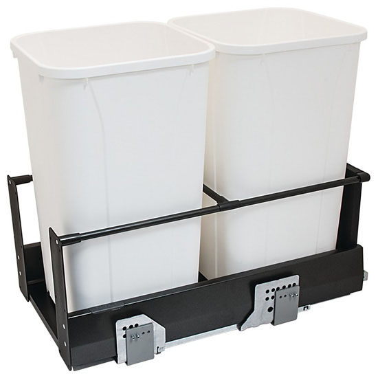 Hafele Double Built-In Bottom Mount Pull-Out MX Trash Cans, Steel, Anthracite with White Bins, 2 x 27 Qt (2 x 6.75 Gal)