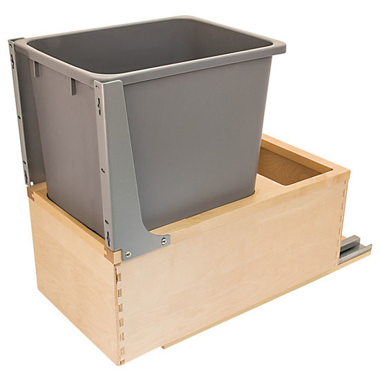 Hafele Built-In Single Pull-Out Bottom Mount Waste Bin with Soft & Silent Grass Elite Slides & Rear Storage Compartment, Birch Wood Frame with Gray Bins