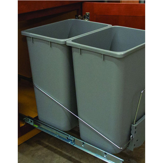 Hafele Bottom Mount Wire Double Waste Bin, Gray, 2 x 36 Quart (2 x 9 Gallon)