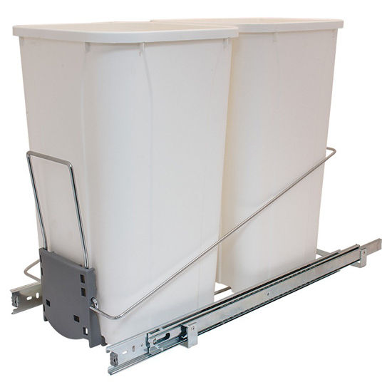 "Hafele Built-In Double Pull-Out Bottom Mount Waste Bin System, 2 x 27 Qt (2 x 6.75 Gal), Wire Chrome Frame & White Bin, 11-1/4""W x 21-3/4""D x 18-3/4""H"