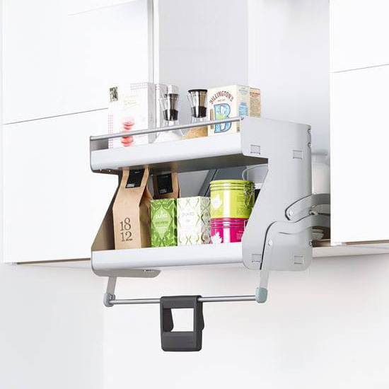 Hafele iMove Pull Down Unit, Double Shelf, Silver/White
