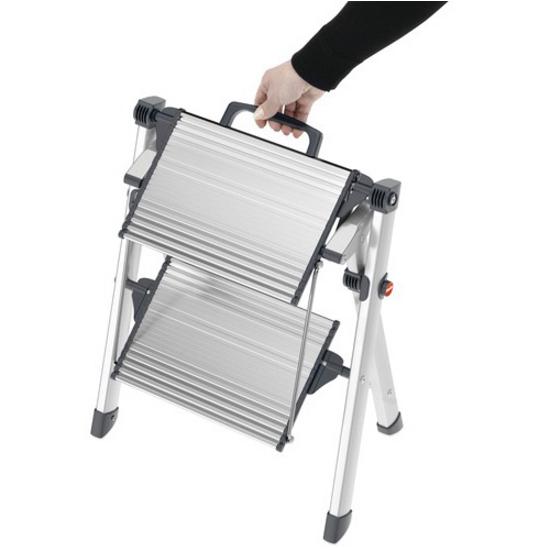 Hailo Mini Comfort Folding Step Stool By Hafele Silver