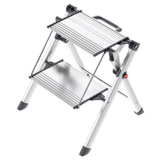 "Hafele Hailo Mini Comfort Folding Step Stool, Silver and Black with Rubber Feet, 17-23/32""W x 2-3/4""D x 23-5/8""H"