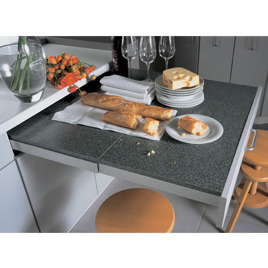 Kitchen Table With Food pull-out tables - pull-out cutting surfaces, appliance shelves and