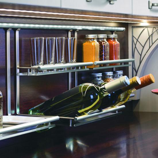Hafele Propri Wine Bottle & Glass Shelf