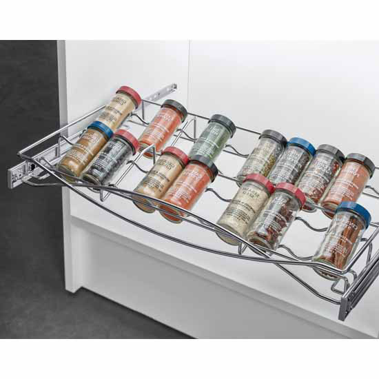 Hafele Pull-out Spice Tray, with Full Extension Slides, Chrome