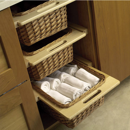 Pull-Out Wicker Storage Baskets for Kitchen Cabinet
