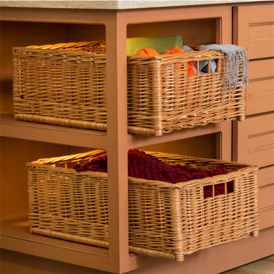 Moveable Wicker Storage Basket