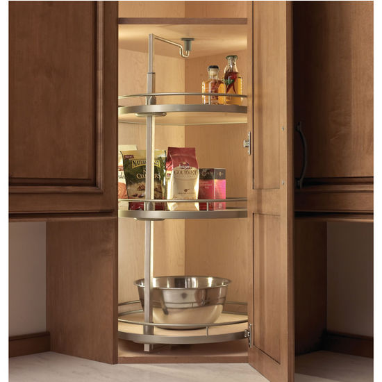 "Project Making An Upper Wall Cabinet Taller Kitchen: Hafele ''Twister"" D-Shaped Lazy Susan With 2 Or 3 Shelves"