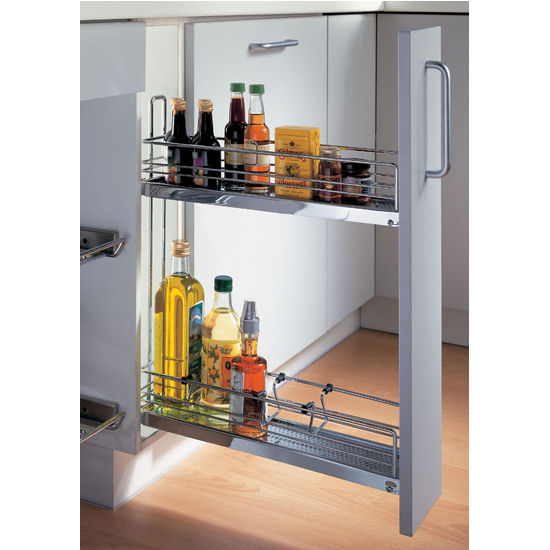 Kitchen Cabinet Pull Out Organizers baskets - pull-out chrome wire or wicker storage baskets for base