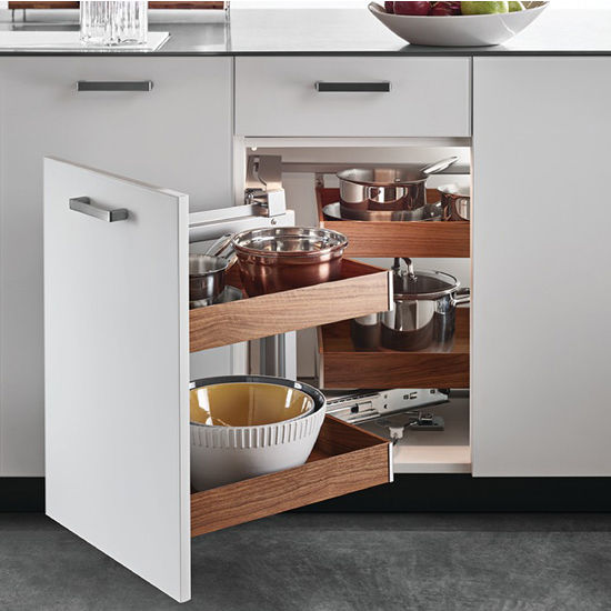 "Ebco Kitchen Accessories Catalogue: ""Fineline"" Magic Corner Birch Or Walnut Side Hang Box"
