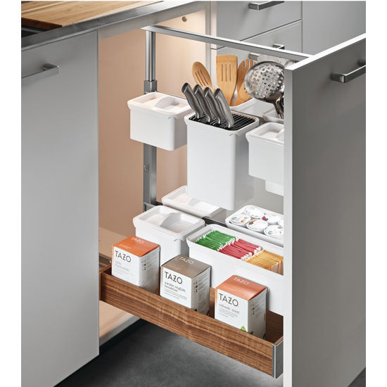 "Hafele Kessebohmer Base Pull-Out II Frame Set, for Overlay and Inset Doors, 3-3/4""W x 21-3/8""D x 26-3/8"" - 32""H, Steel, Silver"