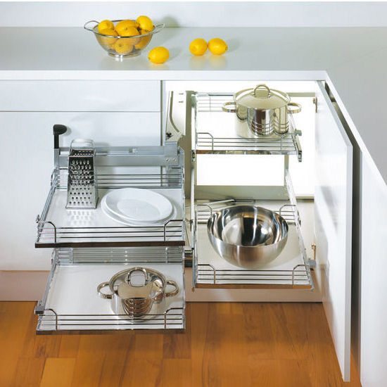 Hafele magic corner ii for use in kitchen blind corner - Magic corner cabinet ...