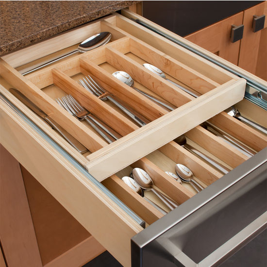 Hafele Wooden Double Cutlery Kitchen Drawer