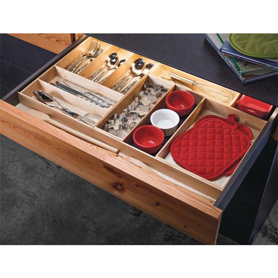 """Hafele """"Fineline"""" Move Kitchen Cutlery Box 1, Birch, 4-1/8""""W x 11-13/16""""D x 1-15/16""""H"""