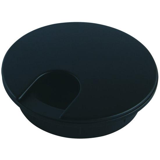 "Hafele Metal Round Cable Grommet, 2-piece, Zinc, Black Epoxy, 2-3/8"" Hole, 13/16"" x 1-1/8"" Opening"