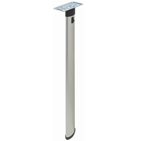 "Hafele Folding Elliptical Table Leg, 50mm (2"") W x 25mm (1"") D x 698mm (27-1/2'') H, Silver Aluminum"