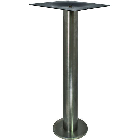Coffee Height Round Small Table Base Round Column: Bolt-Down Round Fixed Single Column Table Base, Stainless