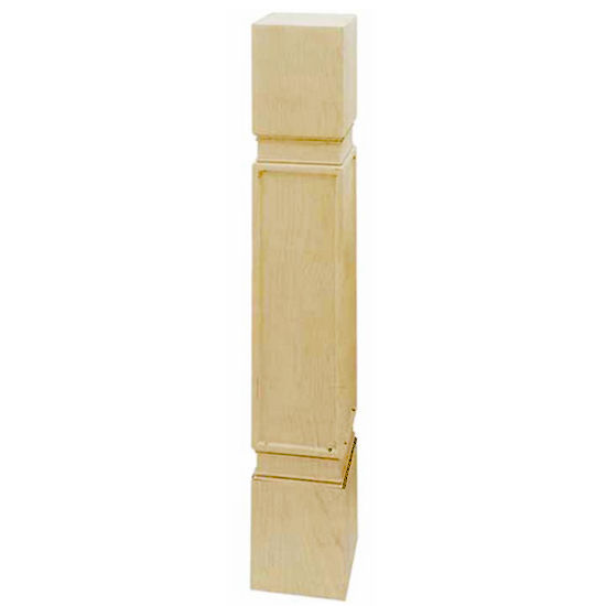 Hafele Arcadian Collection Square, Hand Carved Post, 5-1/4'' W x 5-1/2'' D x 40-1/2'' H, Maple
