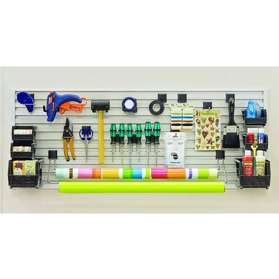 Hafele Omni Track Ready Pack Work/Craft Bench Kit, with Hooks, Storage Bin and Edge Profile