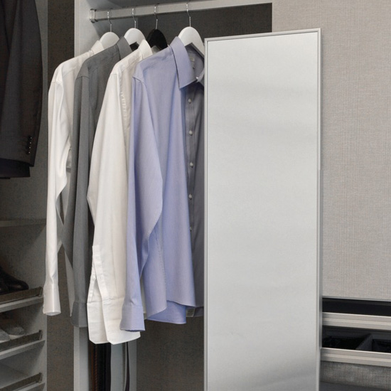 Hafele Elite Closet Pull Out Mirror, Matt Aluminum Frame