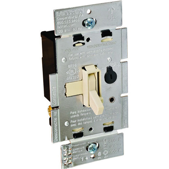 Hafele Lutron Stand Alone Ariadni Toggle Wall Dimmer Switch, Compact Florescent-LED (CL), Plastic, Ivory, 150 Watt